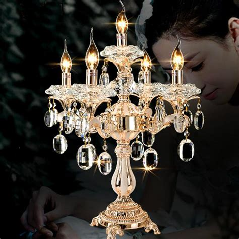 arm gold crystal candle holders led table lamp
