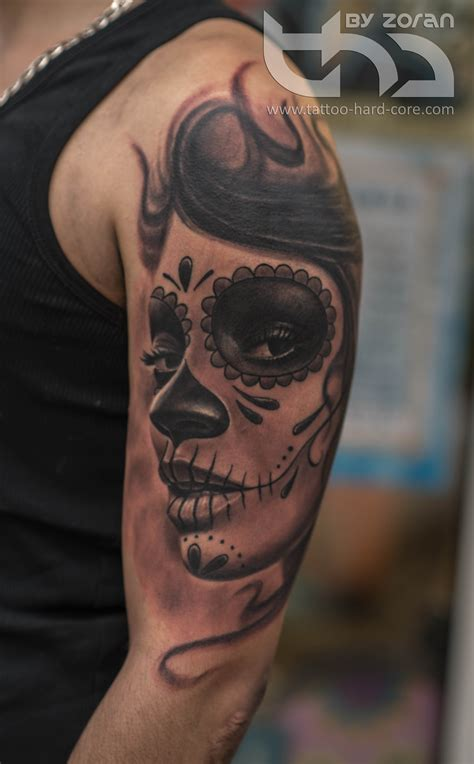 black and grey tattoo la catrinas black and grey