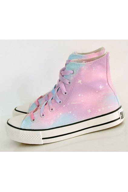 pink blue galaxy universe pastel color sky high top lace