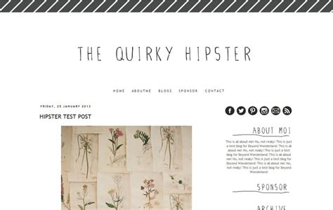 the quirky hipster pre made blogger template 25 00 via