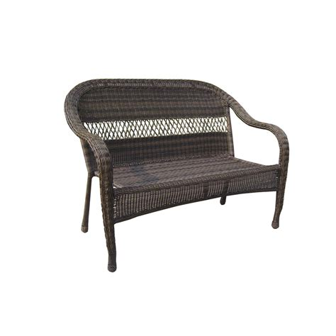 Patio Chairs Lowes Shop Garden Treasures Severson Brown Wicker 2 Seat Patio Loveseat At Lowes