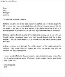 Sle Letter Of Recommendation For Of The Year letter of recommendation for of the year sle templates