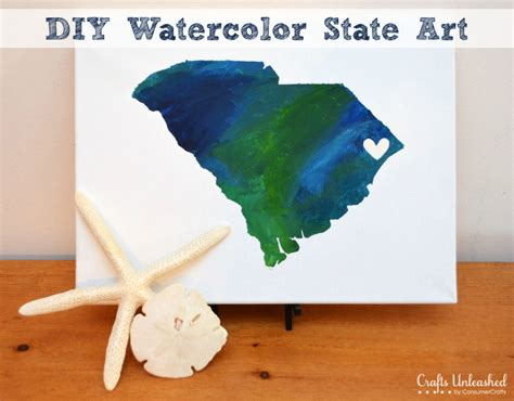 diy canvas crafts canvas make your own watercolor state decor