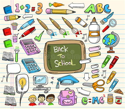 doodle maths for schools sign in back to school doodle set stock photo image 14914200