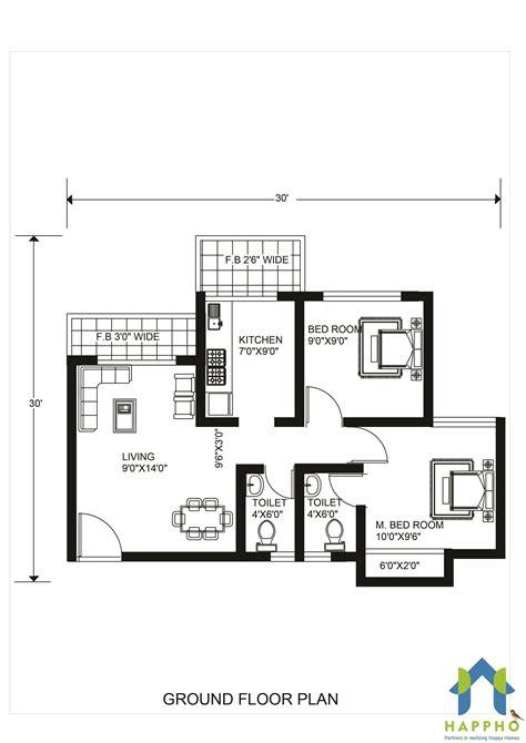 30 x 30 sq ft home design 1 bhk floor plan for 25 x 30 plot 750 square