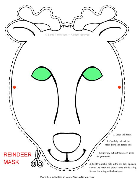 printable christmas masks reindeer mask free printable coloring page