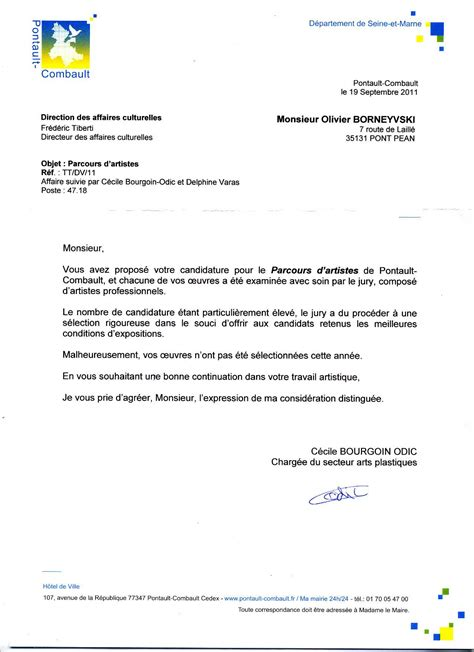 Lettre De Notification Entreprise Retenue Modele Lettre Candidature Non Retenue Document