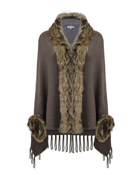 Lk Ponco faux fur collar winter shawl womens cape poncho wrap cardigan top jacket ebay