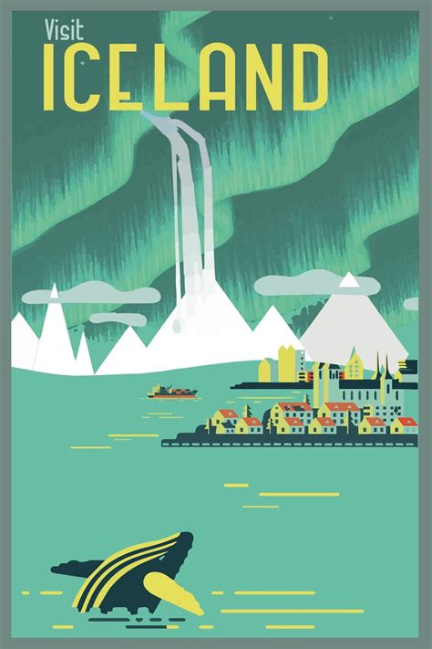 design poster buy travel poster vintage iceland google search http