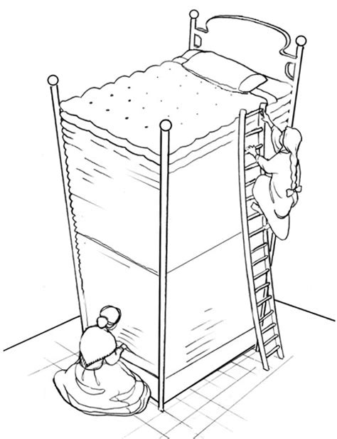 princess and the pea coloring page coloring pages