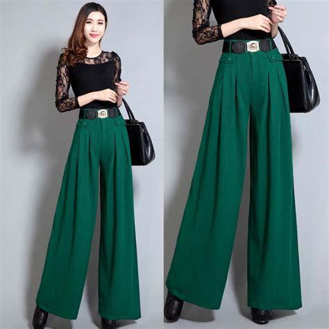 Celana High Waist Big Size fall european style s green black high waisted linen trousers
