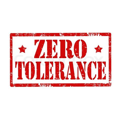 zero torelance grunge rubber st with text zero tolerance vector