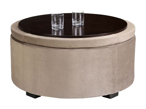 Light Brown Upholstered Round Ottoman Coffee Table With Circle Ottoman With Storage