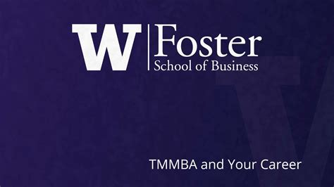 Foster Mba Employment Report by The Tmmba Program And Your Career Foster