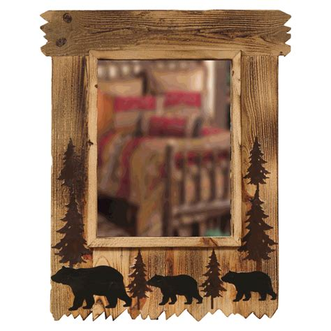 black forest home decor wood black bear mirror