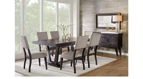 hill creek black  pc rectangle dining room rustic