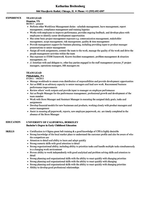Team Leader Resume Format by Team Lead Resume Sles Velvet