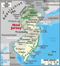Map Of New York And New Jersey by New Jersey Map Geography Of New Jersey Map Of New