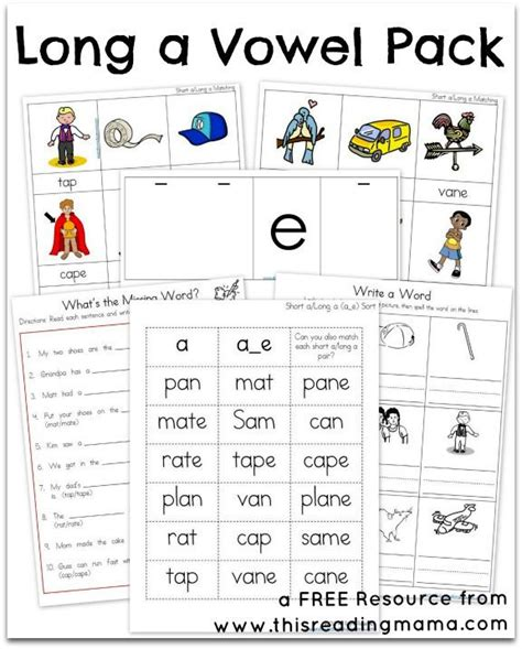 printable short vowel worksheets long a vowel pack phonics and school