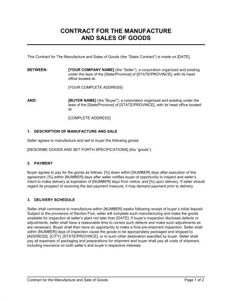 Contract For The Manufacture And Sale Of Goods Template Sle Form Biztree Com Contract For Sale Of Goods Template Free