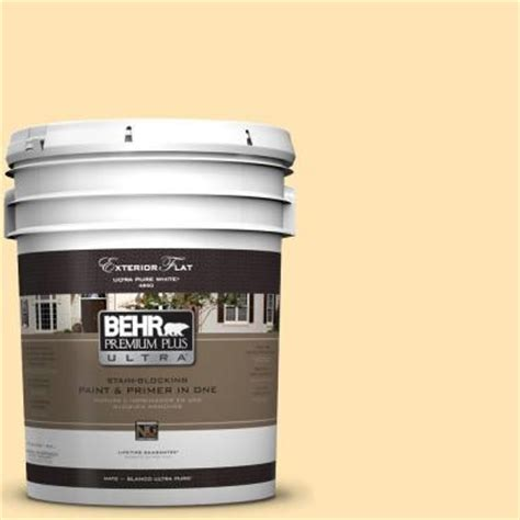 behr premium plus ultra 5 gal p260 3 vanilla flat exterior paint 485005 the home depot