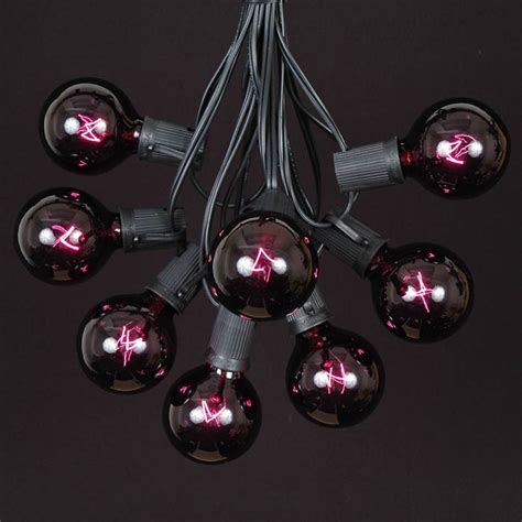 100 black light g50 globe string light set on black wire
