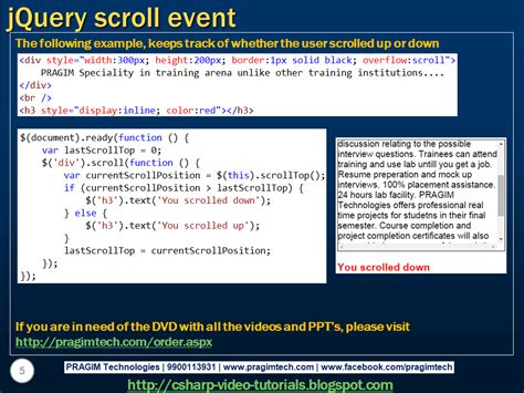 tutorial scroll to jquery sql server net and c video tutorial jquery scroll event