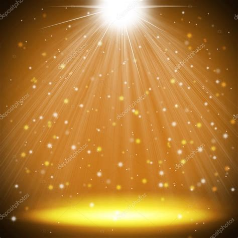 gold stage light as christmas background stock photo