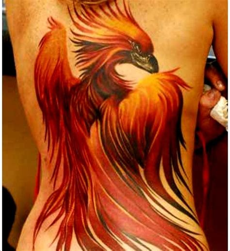 phoenix back tattoo designs bird designs