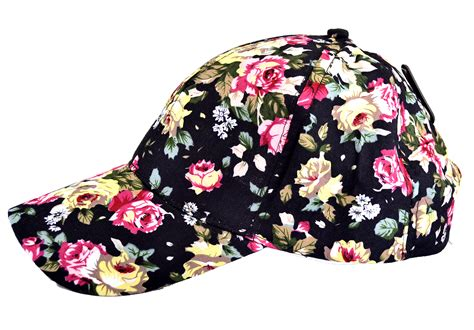floral baseball cap in black