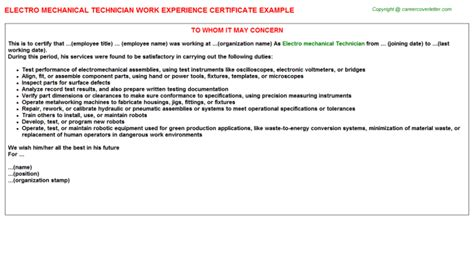 Electro Mechanical Tester Cover Letter by Electro Mechanical Technician Cover Letter Cover Letter Templates