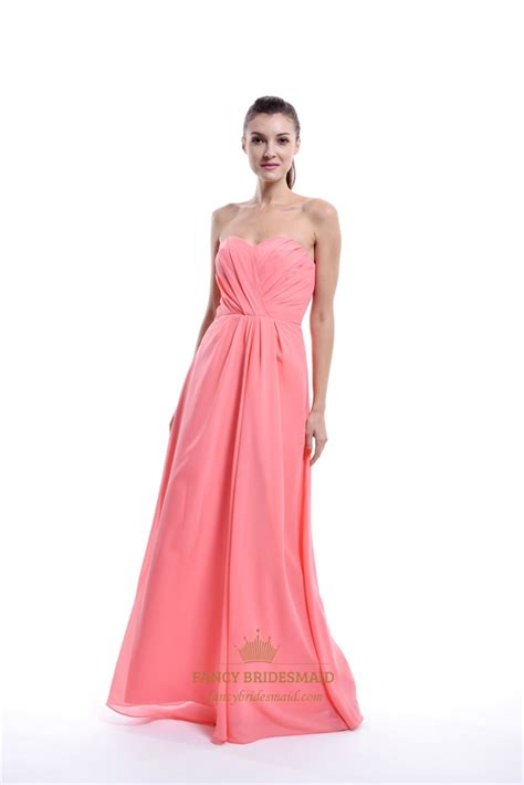 beach wedding dresses coral coral strapless sweetheart chiffon bridesmaid dress for