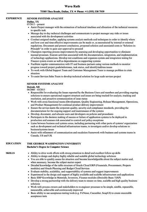 Resume Senior Systems Analyst by Senior Systems Analyst Resume Sles Velvet
