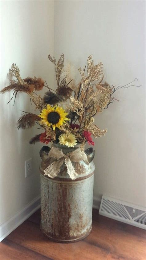 burlap fall decorations country rustic decor milk can fall flowers and burlap
