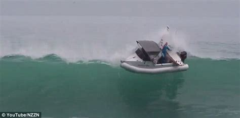 boat covers new zealand video shows moment new zealand surfers at north island are