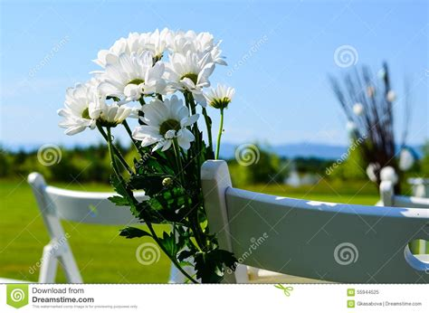 Outdoor Flower Decorations by Flower Decoration At An Outdoor Wedding Stock Photo