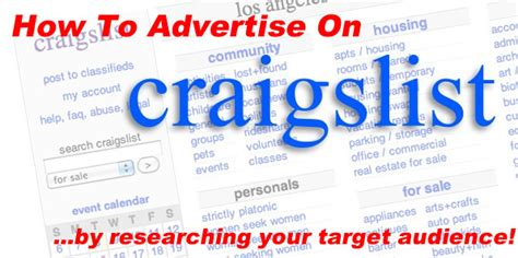 how to advertise on craigslist how to advertise on craigslist target audience