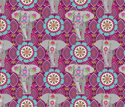 pattern elephant background elephant festival madness fabric by shellypenko on