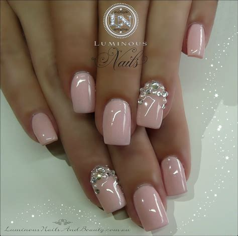 Gel Acrylic Nails luminous nails baby pink nails with crystals pearls