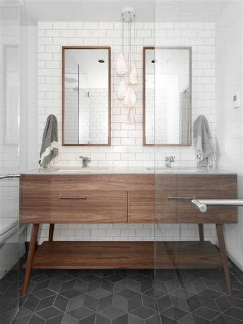 Modern Bathroom Floor Tile Beatty St Loft Cube Tile Floor Charcoal Floor Mid Century Vanity Walnut Modern West