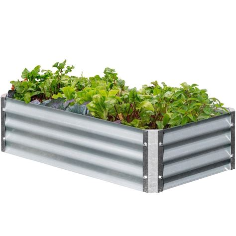 galvanized raised garden bed earthmark bajo series 22 in x 40 in x 10 in rectangle