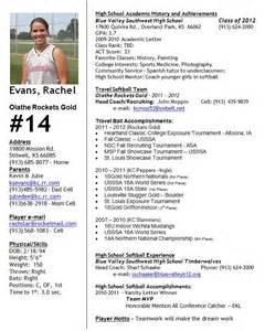 college recruiting profile template softball profile softball profile