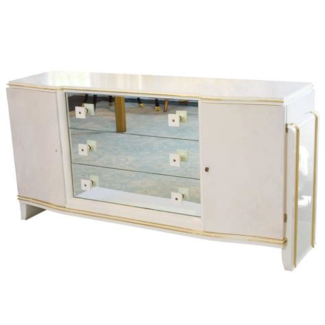 Lacquered Dresser by Parchment And White Lacquer Dresser With Brass