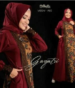 Dress Batik Merah Marun model baju setelan dress muslim gamis batik modern