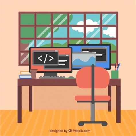computer da ufficio ufficio moderno con computer e finestra scaricare