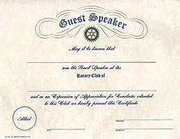 certificate for guest speaker just b cause