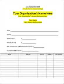 auction program template sle bid sheet silent auction bid sheets