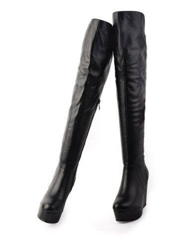 thigh high boots with wedge heel wedge heel thigh high real leather boots