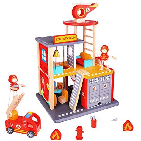pidoko kids fire station dollhouse playset wooden toy fire house  boys  girls includes
