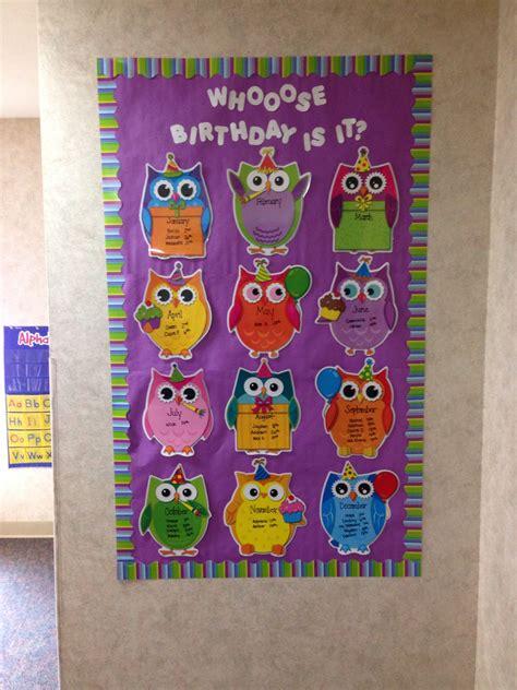 printable owl birthday chart birthday bulletin board owl classroom prek pinterest